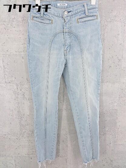 ◇ SLY スライ ウォッシュ加工 カットオフ テーパード ジーンズ デニム パンツ サイズ24 インディゴ レディース_画像1