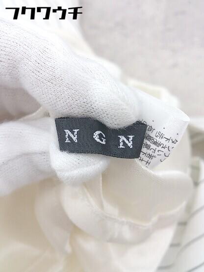 ◇ ◎ INGNI イング ベルト付 ストライプ ノースリーブ 膝丈 ワンピース サイズM オフホワイト レディース_画像3