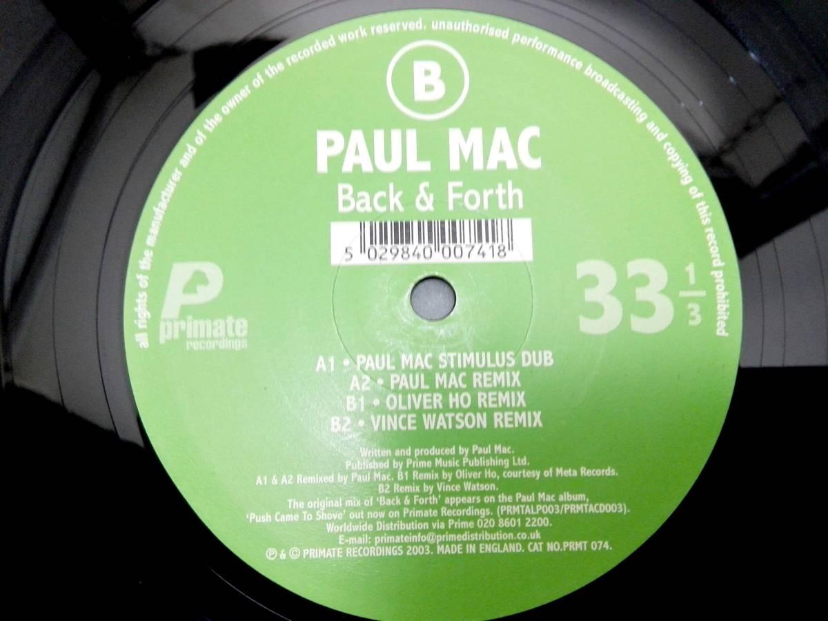 3610【LP盤】 ☆めったに出品されない ☆ Paul Mac - Back & Forth  ポール・マック ≪貴重レコード≫ 複数落札おまとめ発送可_画像2
