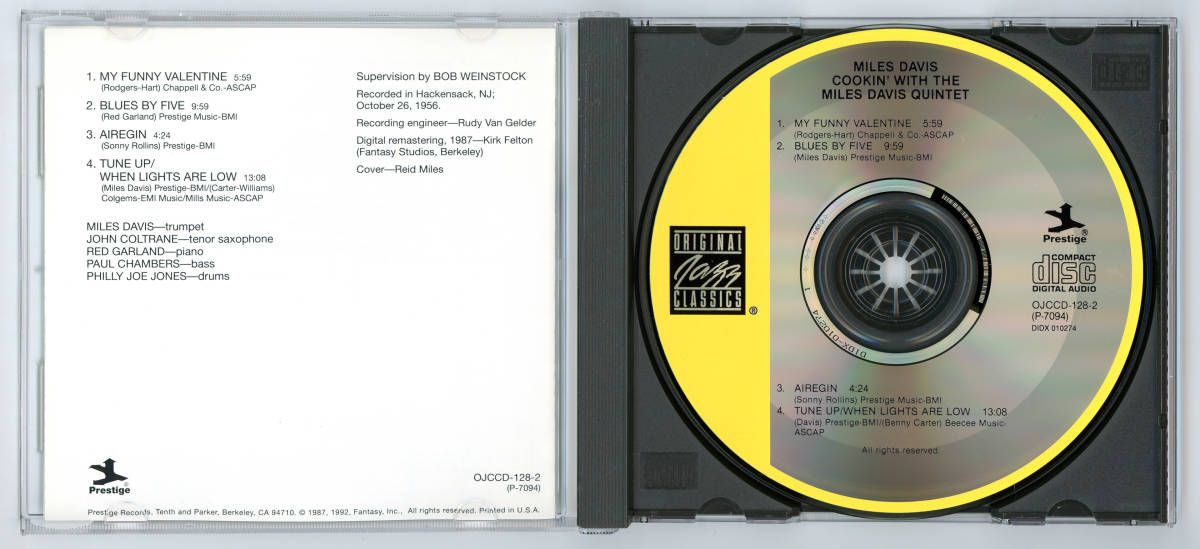 Miles Davis - Cookin' With the Miles Davis Quintet, 輸入盤 (Original Jazz Classics/Prestige)_画像3