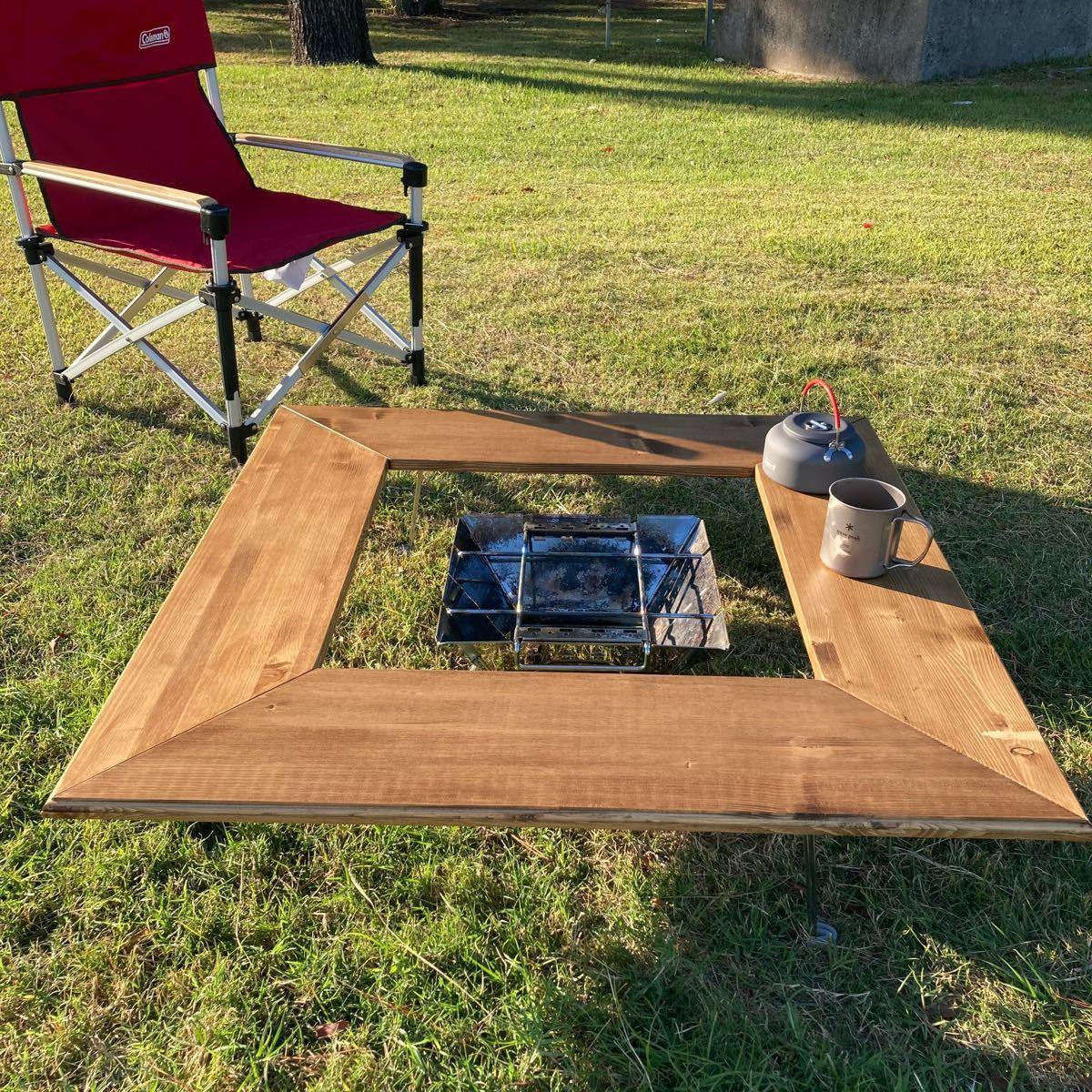 【2大特別プレゼント付き】防炎施工有りの囲炉裏テーブル  焚き火台テーブル