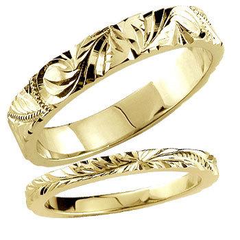 ペアリング 安い ハワイアンジュエリー 結婚指輪 ゴールド 18k イエローゴールドk18 マリッジリング シンプル 人気 プレゼント 女性 男性_画像1