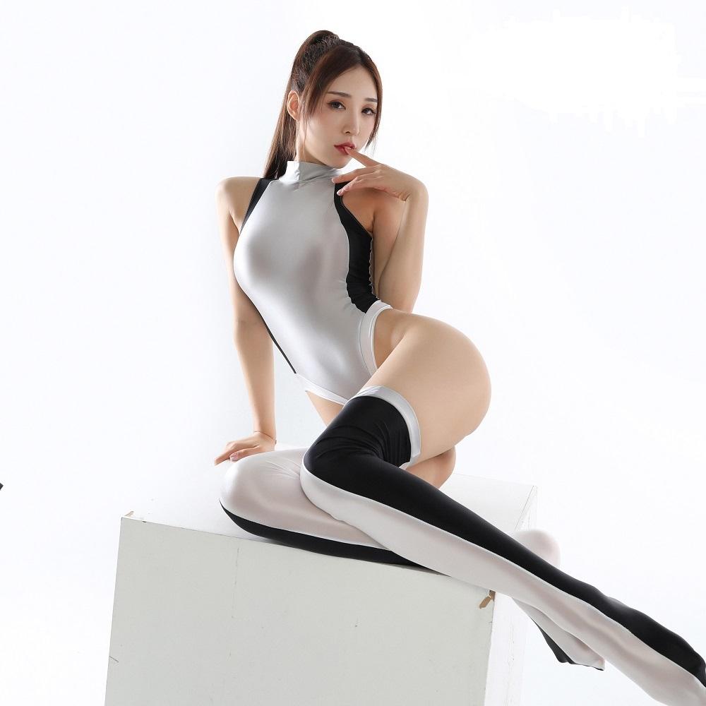 2020年秋 今期最新作 上下セット コスプレ衣装 ハイレグレオタード レースクイーンレオタード ホワイト フリーサイズ_画像1