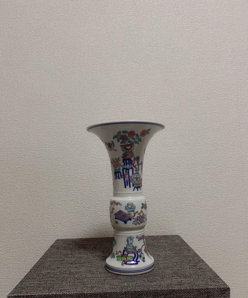 花瓶 在銘 大清乾隆年製 高さ21cm 骨董品 古磁器 中国美術品 清朝 傷なし 古玩 古伊万里古美術_画像1