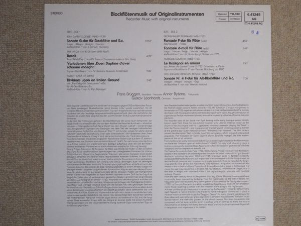 【長岡鉄男氏外盤A級セレクション No. 17】 独TELEFUNKEN 6.41249 オリジナル楽器によるブロックフレーテの音楽 <美盤>  _画像2