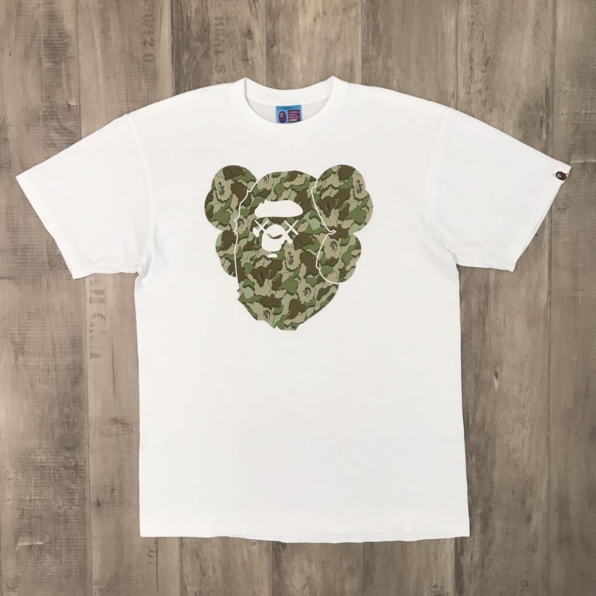 ★激レア★ kaws × bape cloud camo big head Tシャツ Lサイズ a bathing ape カウズ エイプ ベイプ アベイシングエイプ 迷彩 nigo 3252_画像1