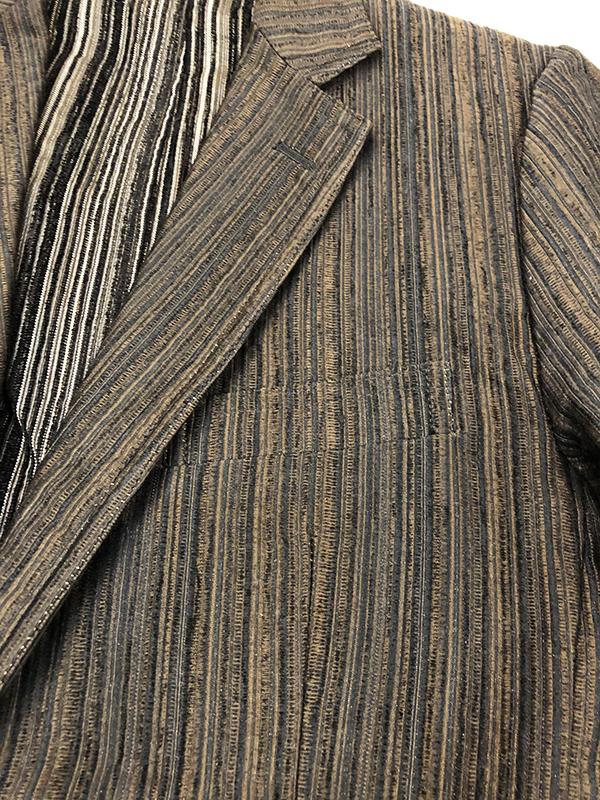 シェラック SHELLAC ストライプ 2B テーラード ジャケット 46 ブラウン系 アンコンジャケット 本切羽 MADE IN JAPAN 茶系_画像3