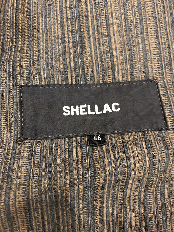 シェラック SHELLAC ストライプ 2B テーラード ジャケット 46 ブラウン系 アンコンジャケット 本切羽 MADE IN JAPAN 茶系_画像5