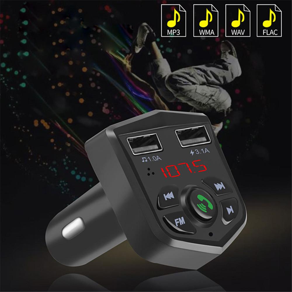 カーキット Bluetooth 5.0 ハンズフリー 通話 ワイヤレス FMトランスミッター LCD MP3プレーヤー USB充電器 3.1A カーアクセサリー Q2077_画像3