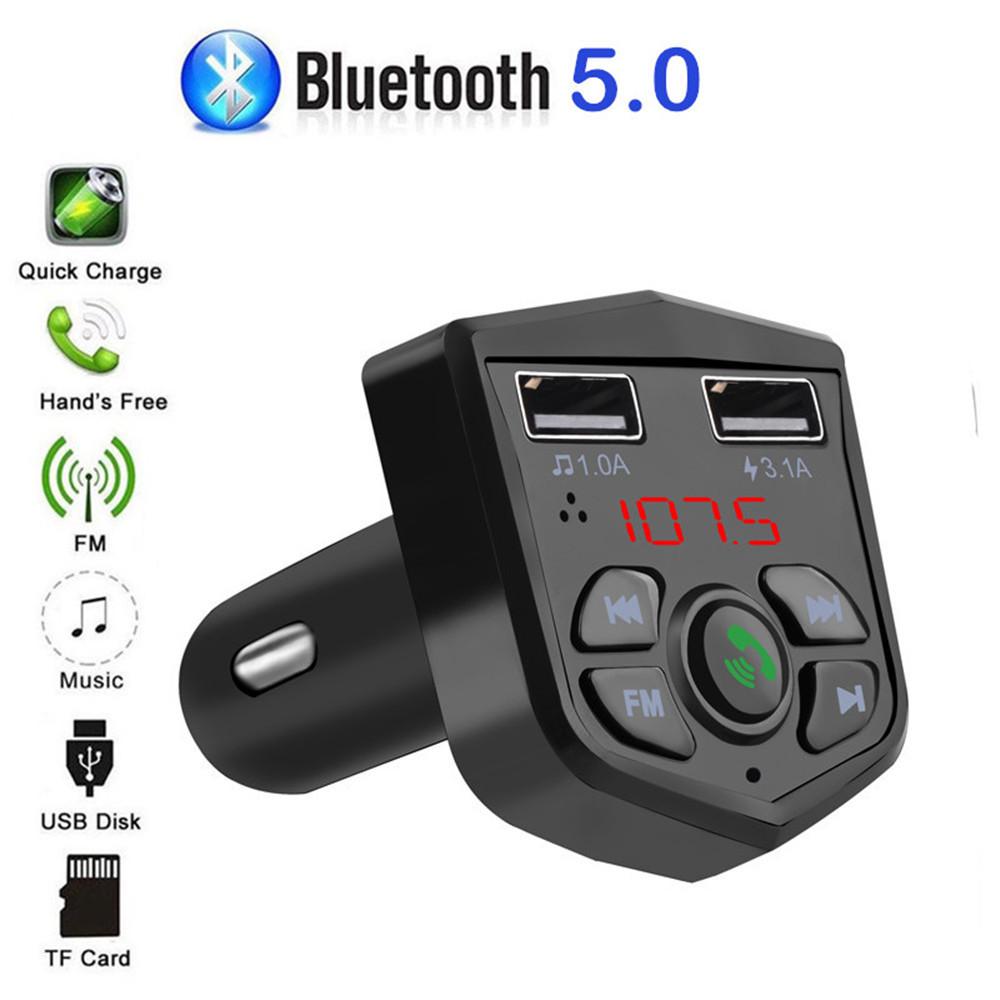 カーキット Bluetooth 5.0 ハンズフリー 通話 ワイヤレス FMトランスミッター LCD MP3プレーヤー USB充電器 3.1A カーアクセサリー Q2077_画像5