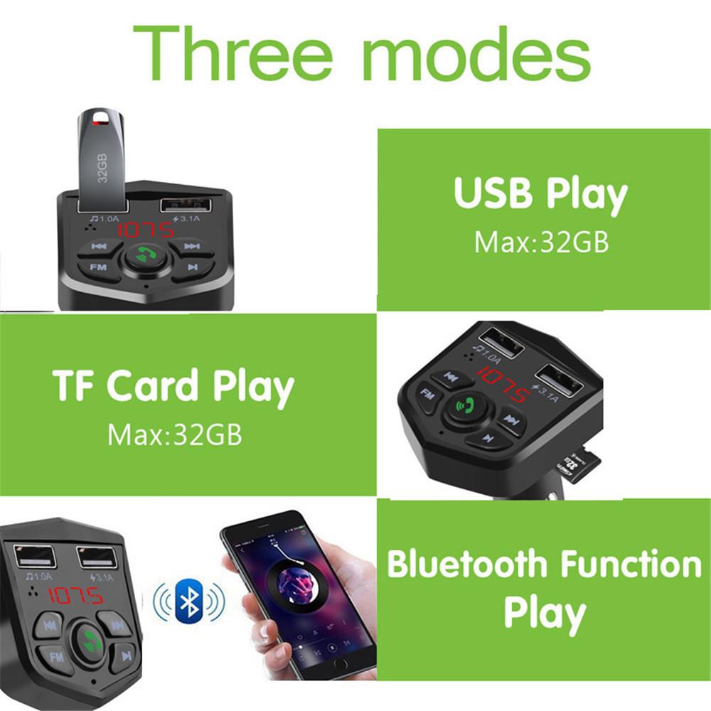 カーキット Bluetooth 5.0 ハンズフリー 通話 ワイヤレス FMトランスミッター LCD MP3プレーヤー USB充電器 3.1A カーアクセサリー Q2077_画像4