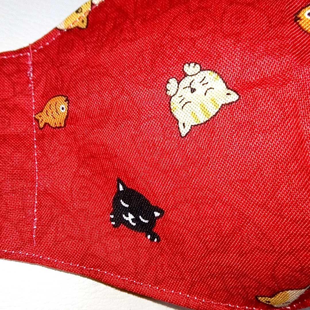 猫に鯛 魚 ネコ 立体型 インナーマスク Sサイズ(幼児~小学校低学年 子供)ハンドメイド S00035_画像5