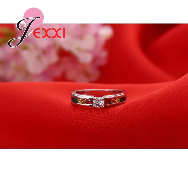 ファッション925スターリングシルバーホット販売虹婚約女性高品質のジュエリー_画像2