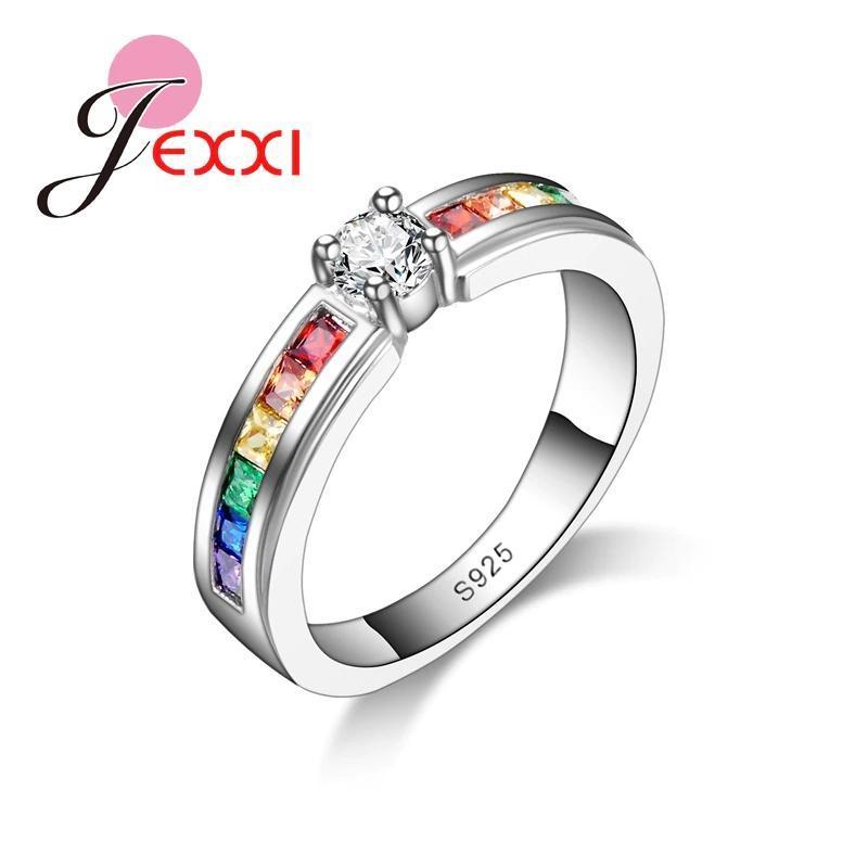 ファッション925スターリングシルバーホット販売虹婚約女性高品質のジュエリー_画像1