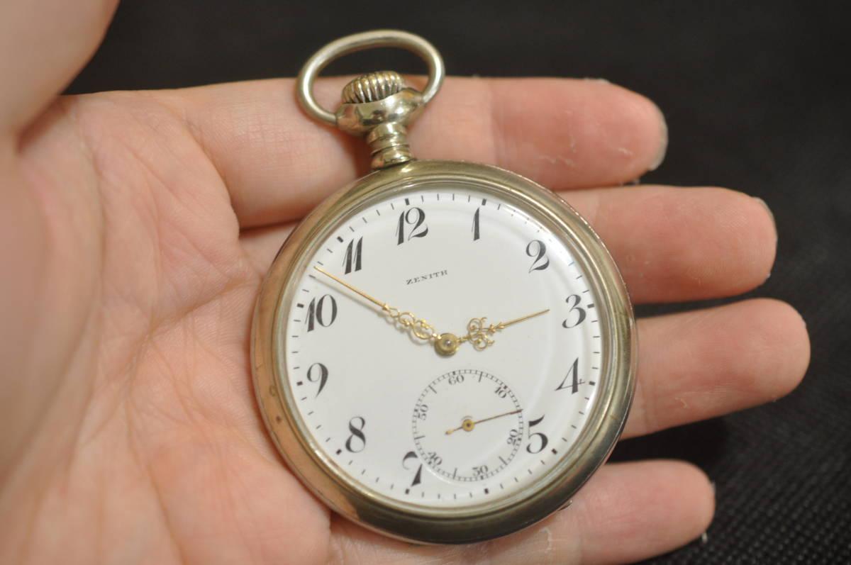 [2413] ZENITH ゼニス 3サイン 懐中時計 アンティーク 時計 手巻き 機械式 52mm 1918年 スイ