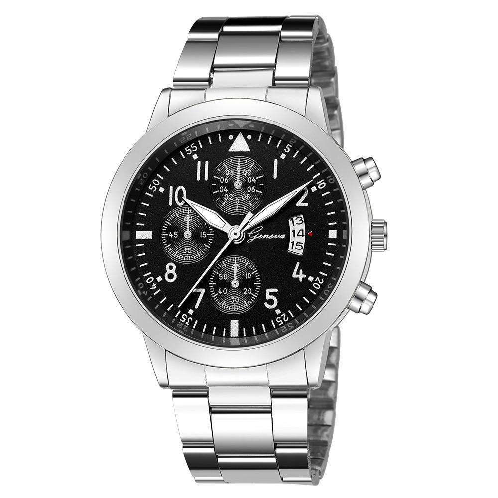 メンズ腕時計レロジオmasculinoステンレス鋼のカレンダーの時計男性ファッション軍事スポーツクォーツ腕時計リロイhombre zegarek meski_画像1