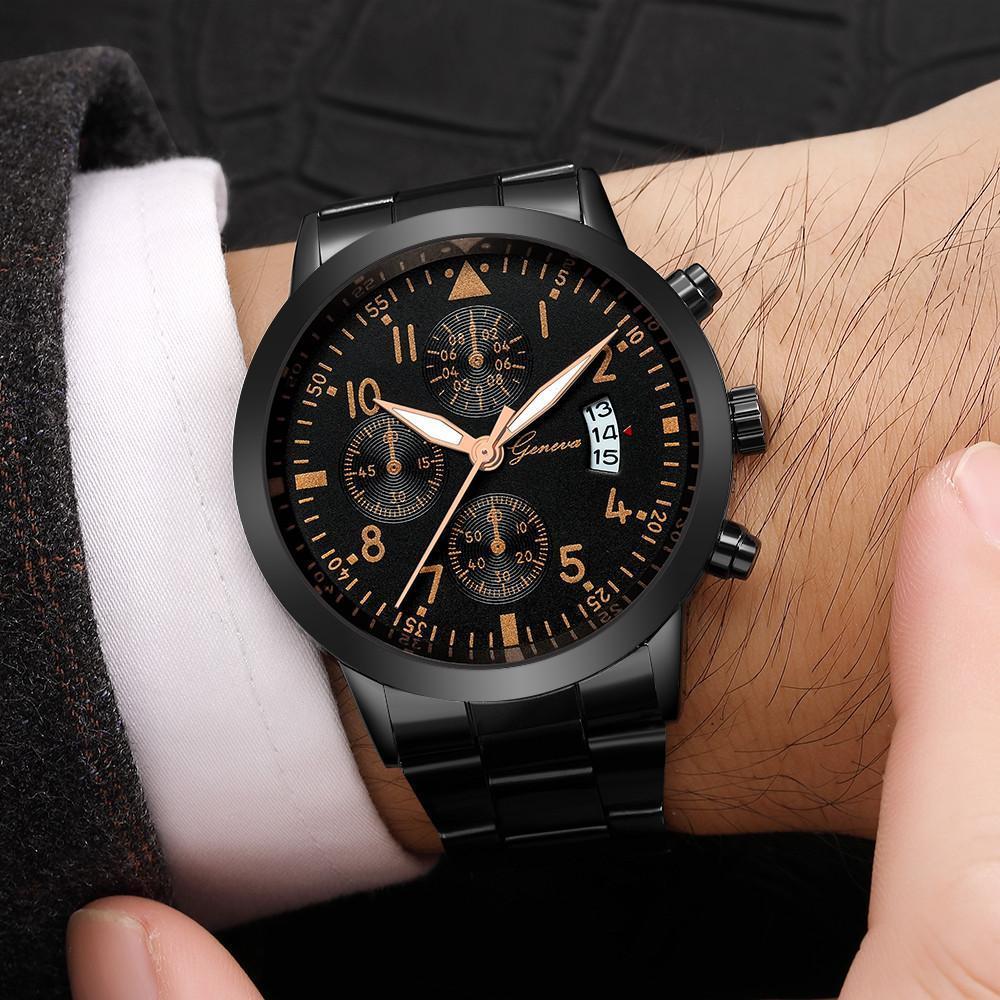 メンズ腕時計レロジオmasculinoステンレス鋼のカレンダーの時計男性ファッション軍事スポーツクォーツ腕時計リロイhombre zegarek meski_画像5