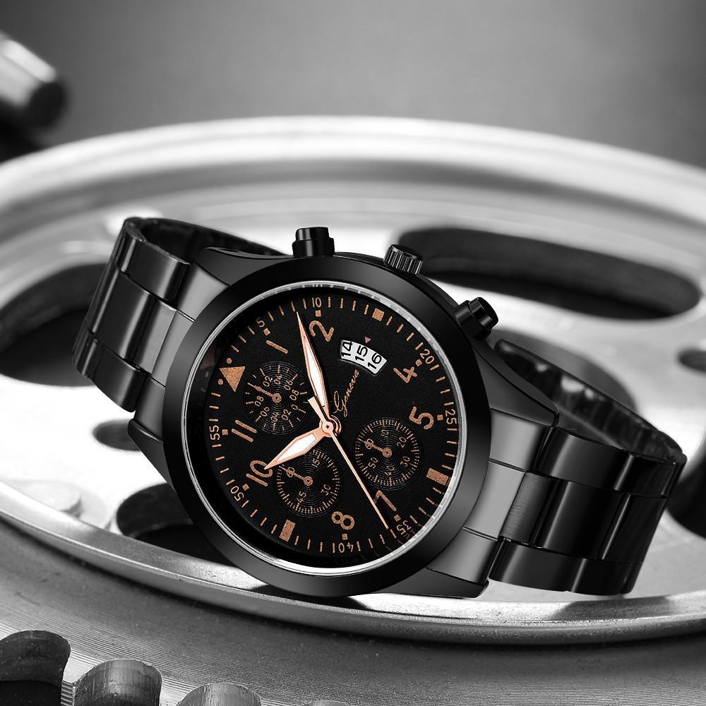 メンズ腕時計レロジオmasculinoステンレス鋼のカレンダーの時計男性ファッション軍事スポーツクォーツ腕時計リロイhombre zegarek meski_画像4