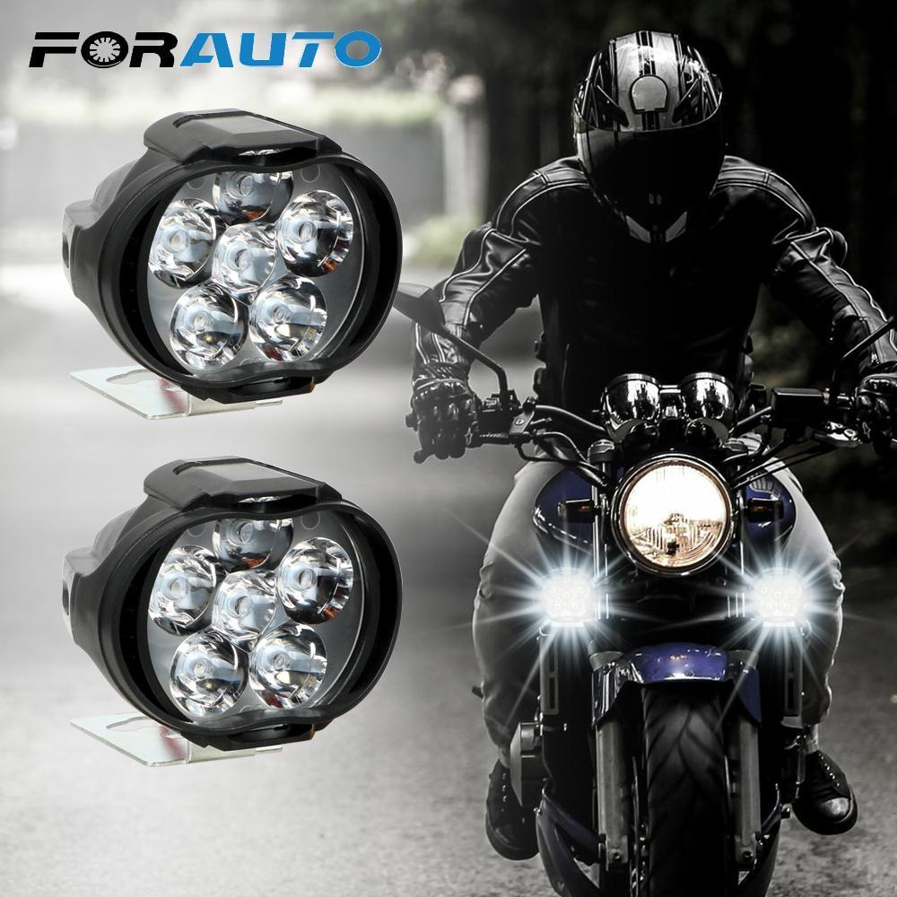 【★★新品★★】2個オートバイヘッドライト6500 18kホワイト超高輝度6 LED作業スポットライトバイクフォグランプ1200LM スクーター_画像1