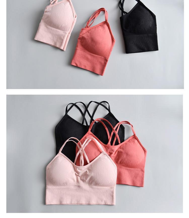 女性クロスバック yoga スポーツブラ通気性ショックプルーフフィットネスプッシュアップトップ yoga を実行しているスポーツウェアベスト_画像4