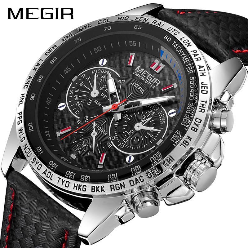 Megirメンズ腕時計トップブランドの高級クォーツ時計男性ファッション発光軍防水メンズ腕時計レロジオmasculino 2019_画像1