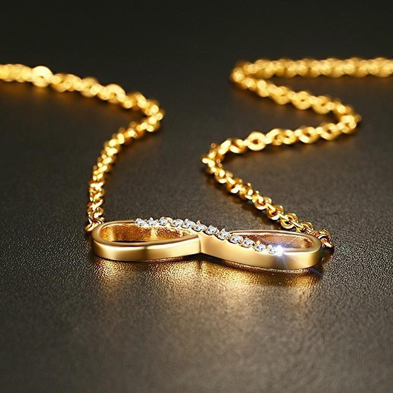 ゴールドカラーインフィニティペンダントネックレス女性チョーカーラッキーナンバー 8 幾何ロングチェーンネックレス女性のファッションジ_画像3