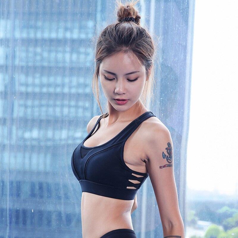 プロの女性メッシュスポーツブラプッシュアップ調整可能なワイヤー無料ブラジャーパッドでジムフィットネスタンクセクシーなランニングヨ_画像2
