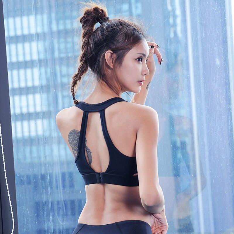 プロの女性メッシュスポーツブラプッシュアップ調整可能なワイヤー無料ブラジャーパッドでジムフィットネスタンクセクシーなランニングヨ_画像3