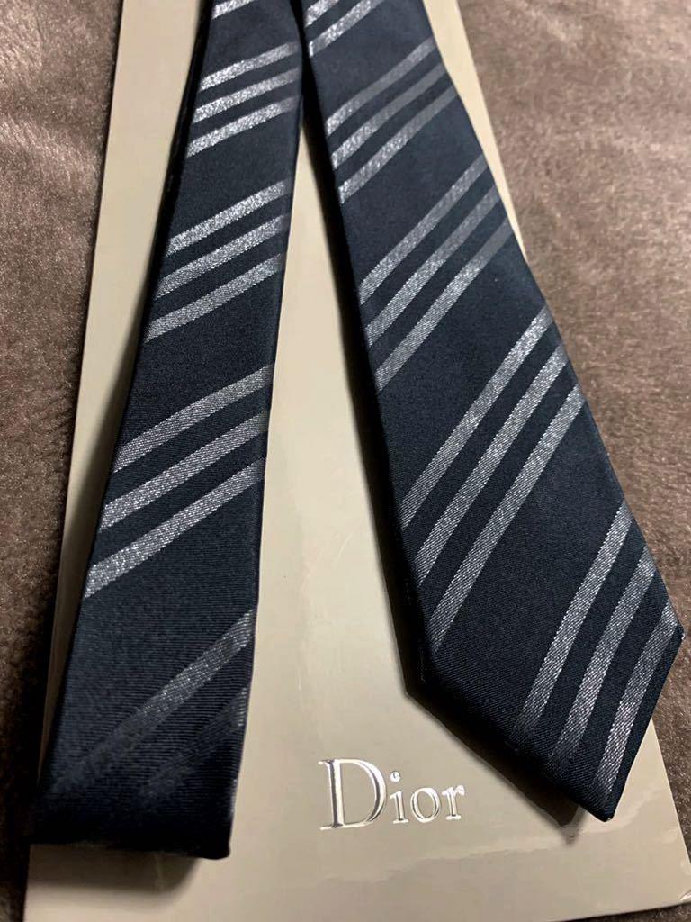 正規 Dior Homme ディオールオム ネクタイ ナロータイ 細身 スリム ストライプ エディ期