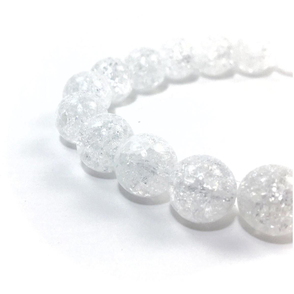 クラック水晶 パワーストーン ブレスレット 10mm 天然石ブレス シンプル 開運 浄化 数珠ブレス メンズ・レディース  男性_画像3