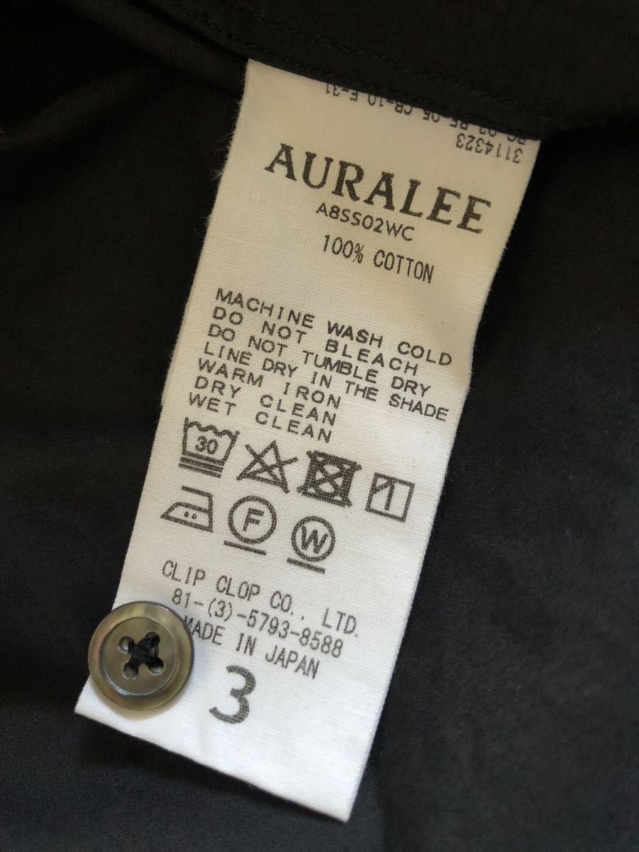AURALEE オープンカラーシャツ 半袖シャツ オーラリー セルビッチ ウェザークロス インクブラック