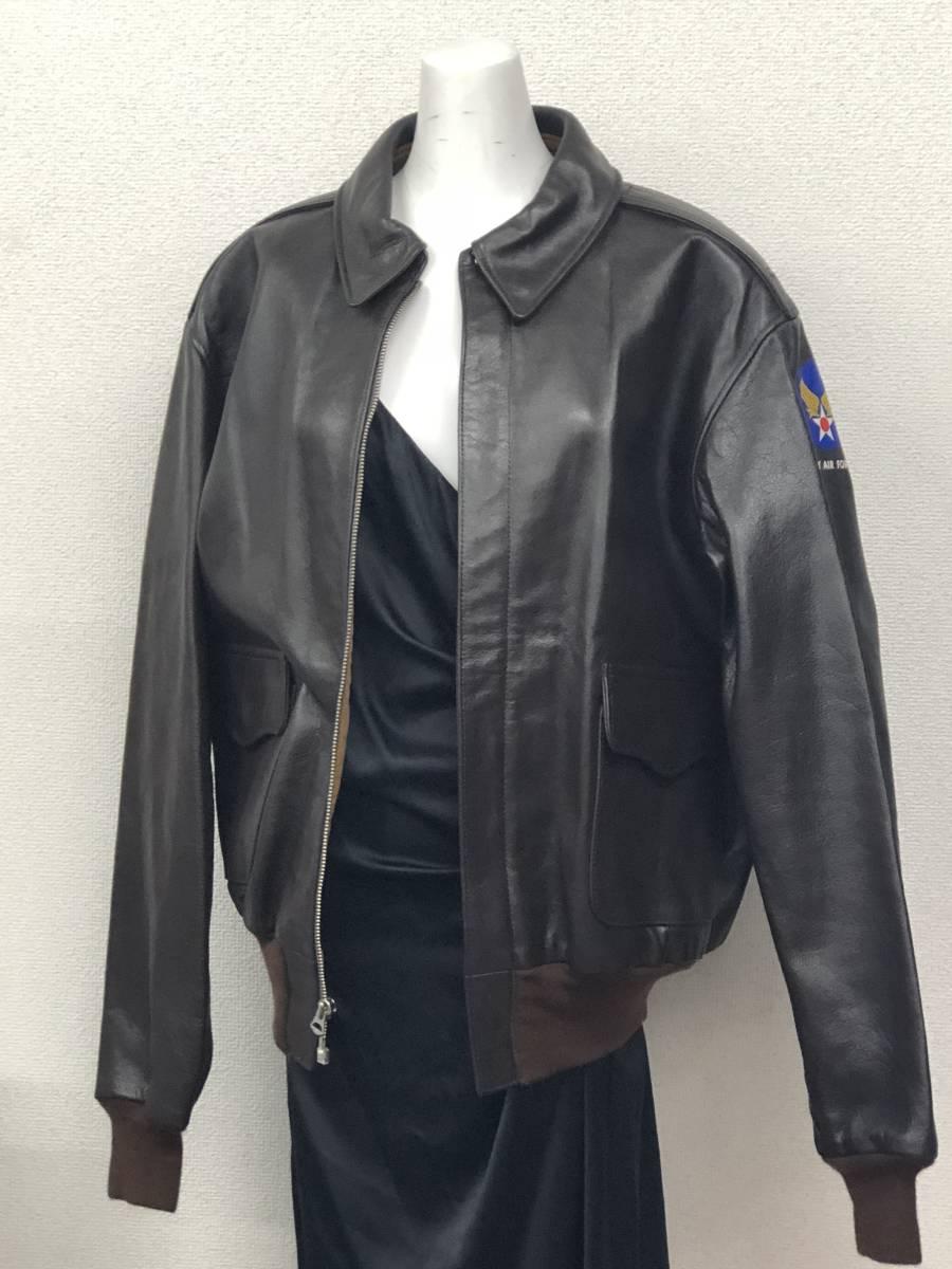 極上品◎The REAL McCOY's リアルマッコイズ フライトジャケット A-2 レザー ダークブラウン バックプリント カクテル ミリタリー40_画像2