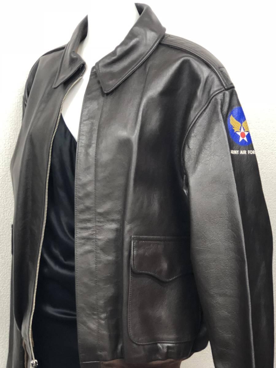 極上品◎The REAL McCOY's リアルマッコイズ フライトジャケット A-2 レザー ダークブラウン バックプリント カクテル ミリタリー40_画像3