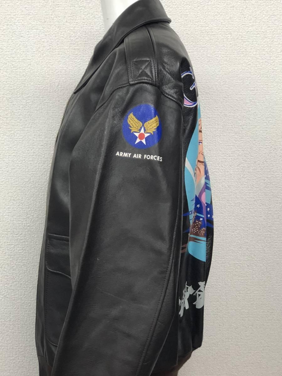 極上品◎The REAL McCOY's リアルマッコイズ フライトジャケット A-2 レザー ダークブラウン バックプリント カクテル ミリタリー40_画像4