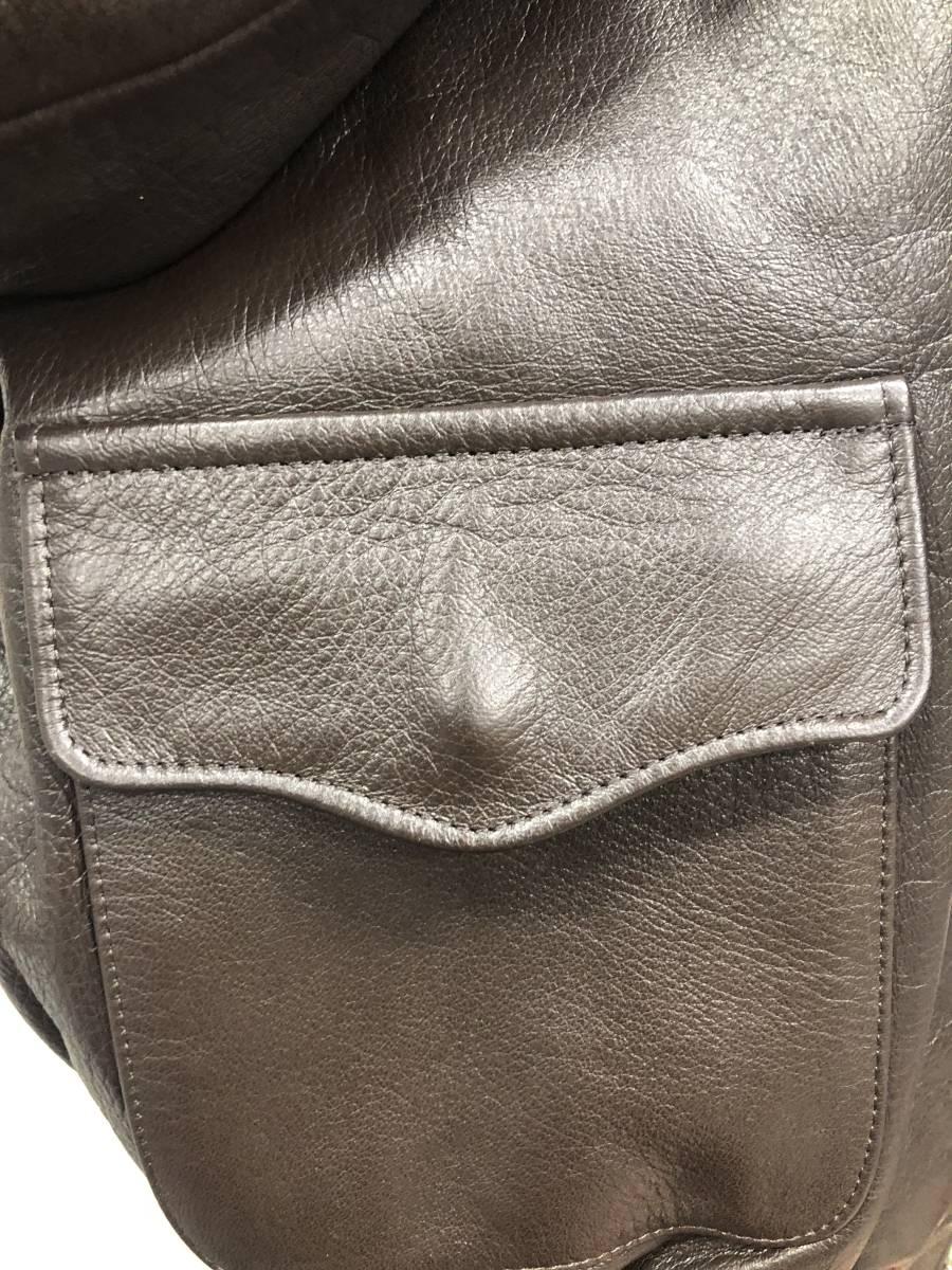 極上品◎The REAL McCOY's リアルマッコイズ フライトジャケット A-2 レザー ダークブラウン バックプリント カクテル ミリタリー40_画像6