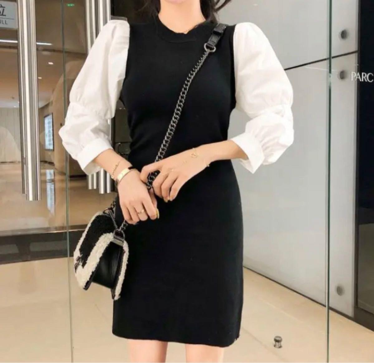 韓国 ワンピース ミニワンピ 黒 白 パフスリーブ シャツ 丸襟 ニット 異素材