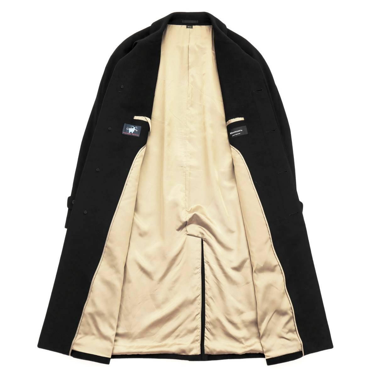 別格これ以上なし!!!トロトロの極上の手触り◎最高級繊維の宝石◎「深喜毛織/FUKAKI」ピュアカシミヤ100%◎ステンカラーコート 黒 XL_画像2