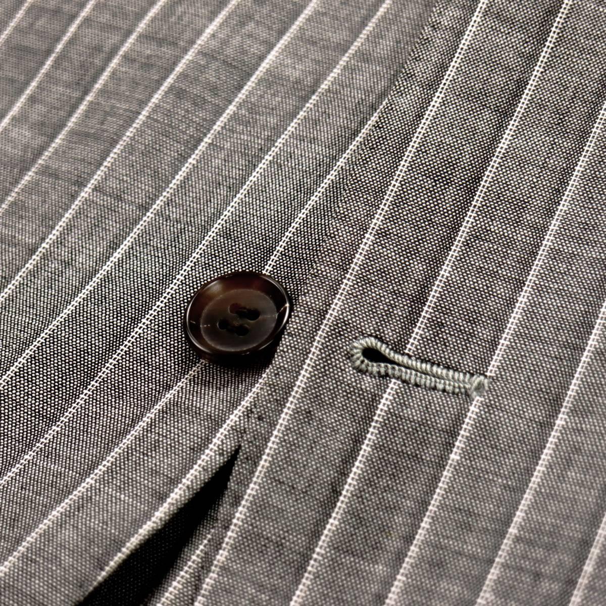 極上リッチな艶◎「ストラスブルゴ」×「リングヂャケット」通年イタリアングレー色◎滑らかな極上素材ピンストライプ柄スーツ 44 S~M_画像7