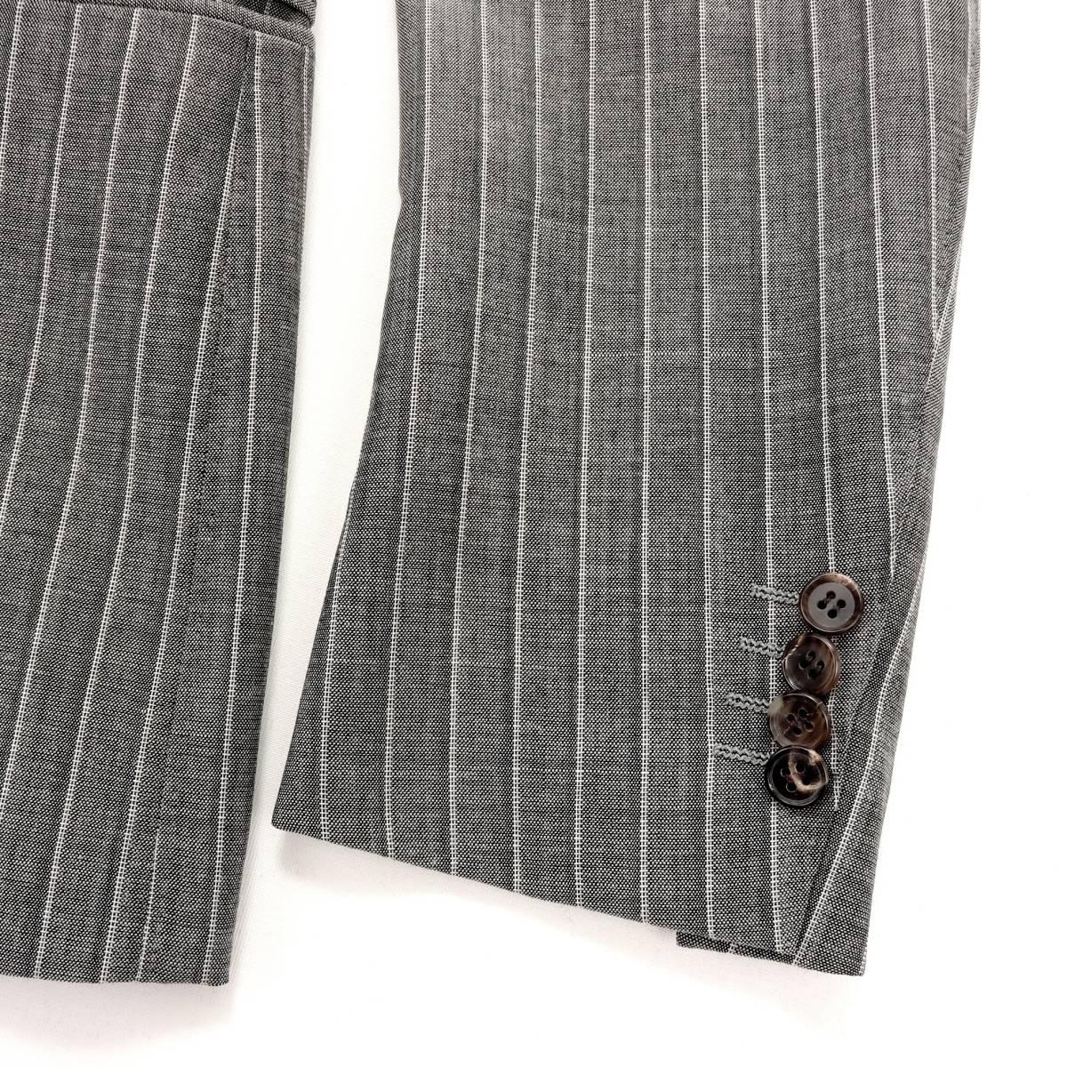 極上リッチな艶◎「ストラスブルゴ」×「リングヂャケット」通年イタリアングレー色◎滑らかな極上素材ピンストライプ柄スーツ 44 S~M_画像6
