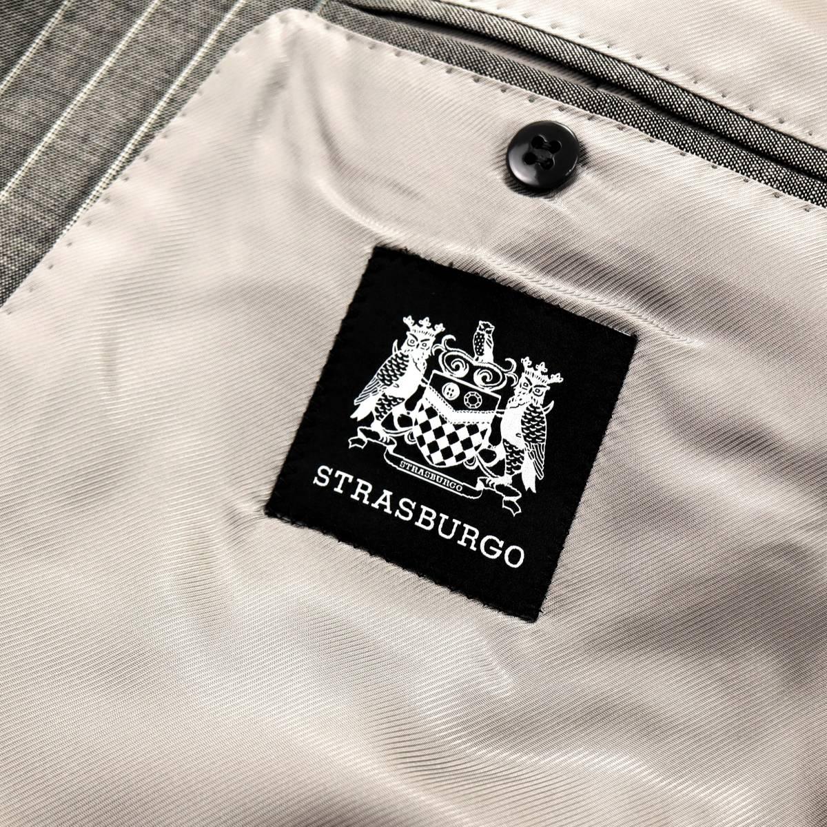 極上リッチな艶◎「ストラスブルゴ」×「リングヂャケット」通年イタリアングレー色◎滑らかな極上素材ピンストライプ柄スーツ 44 S~M_画像8