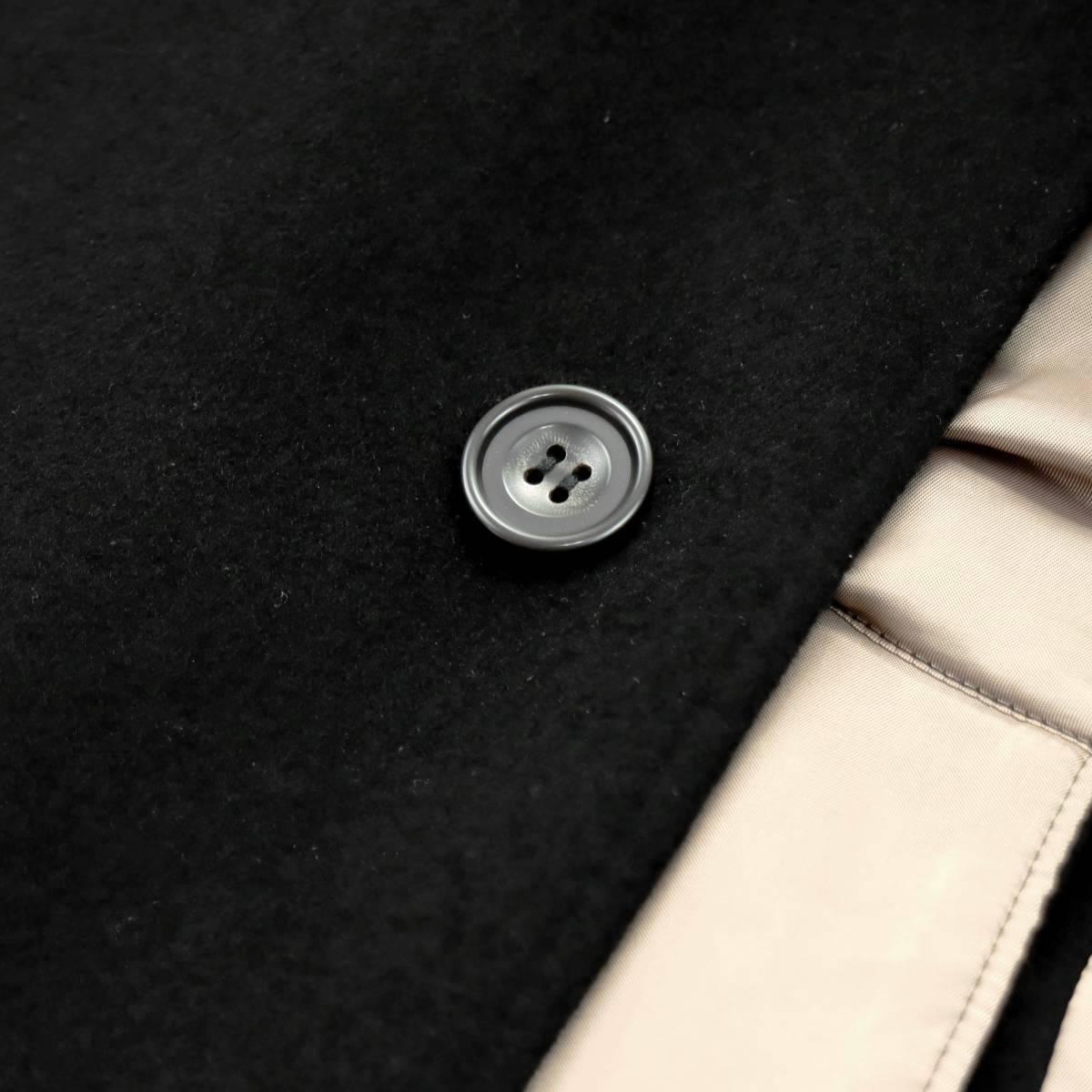 別格これ以上なし!!!トロトロの極上の手触り◎最高級繊維の宝石◎「深喜毛織/FUKAKI」ピュアカシミヤ100%◎ステンカラーコート 黒 XL_画像4