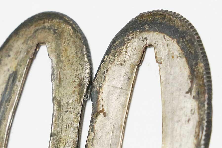 素銅地 銀着せ切羽 一対 6.7g    刀装具 太刀 拵 鍔 小柄笄 目貫_画像4