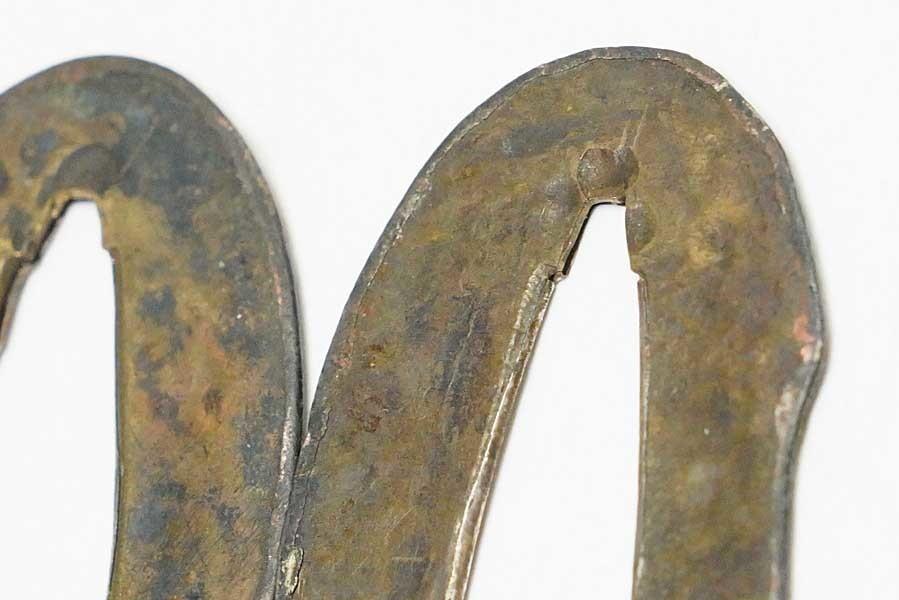 素銅地 銀着せ切羽 一対 6.7g    刀装具 太刀 拵 鍔 小柄笄 目貫_画像6