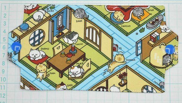 ハンドメイド★マスクホルダー 旅館の部屋にネコ 猫 cat 裏はストライプ マスクケース マスク入れ♪ 仮置き 机の上 バックの中に_画像6