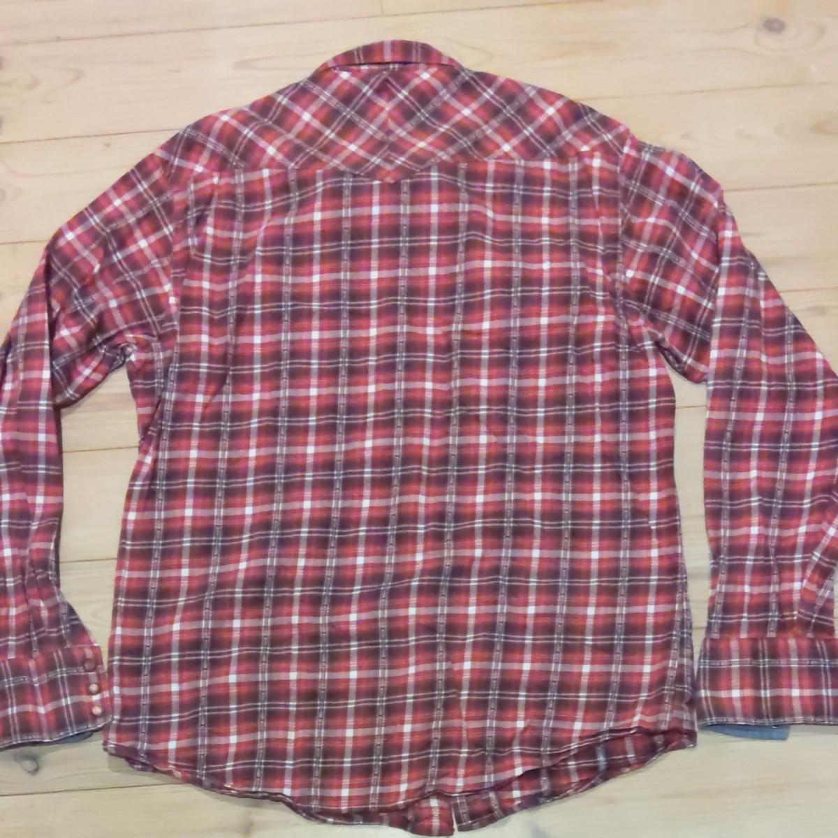10/30まで ネルシャツ チェックシャツ 長袖シャツ チェック チェック柄 赤