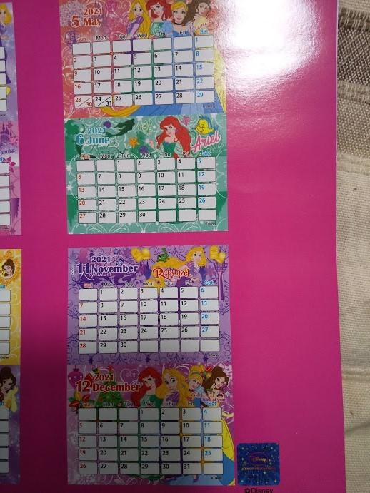 W【プリンセス 壁掛けカレンダー 2021年 A4 祝日シール付き】ラプンツェル アリエル オーロラ シンデレラ ★すぐに発送します!★_画像5