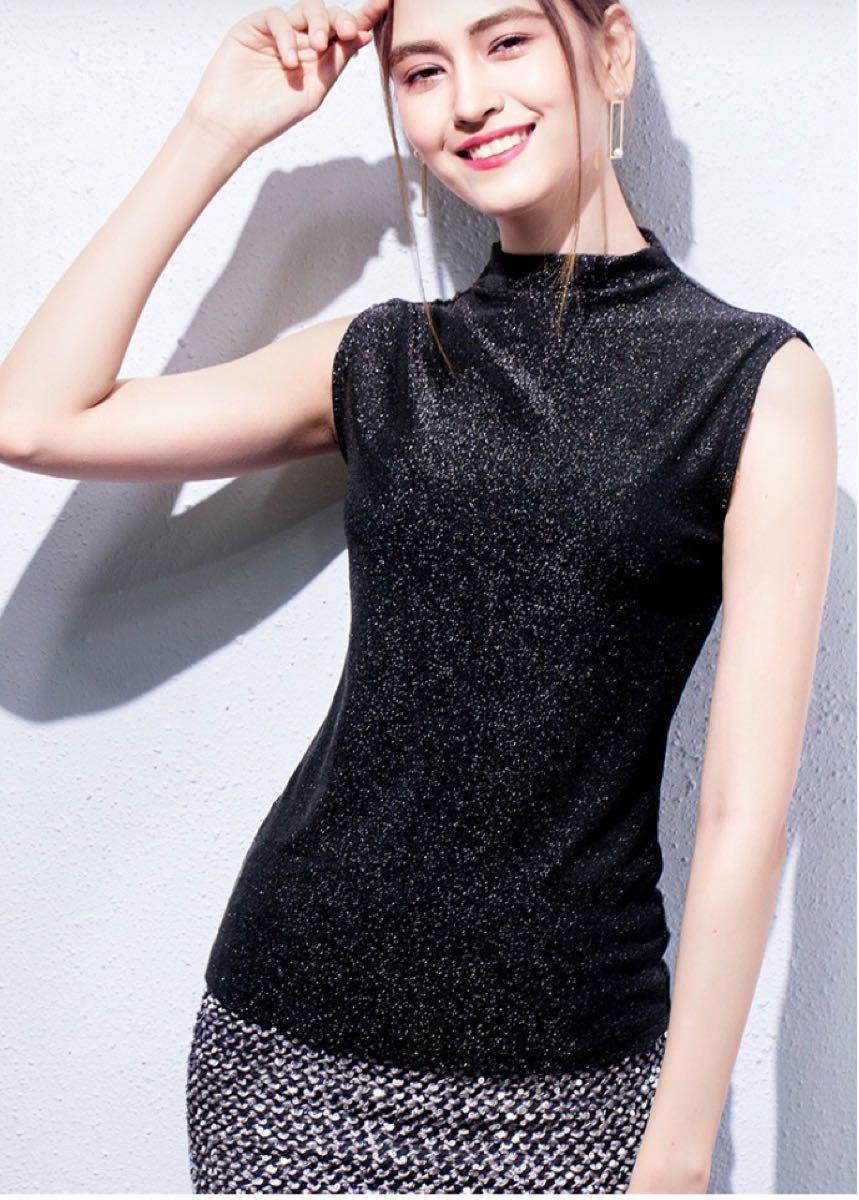 ハイネックキラキラトップス ノースリーブ 秋 韓国ファッション タートルネック