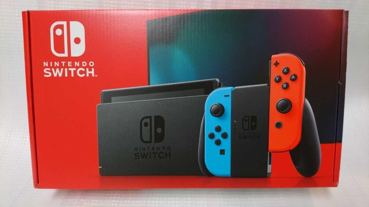 外箱ダメージあり【送料無料】新品未開封 新モデル Nintendo Switch 本体 Joy-Con(L)ネオンブルー/(R)ネオンレッド 保証あり_画像1