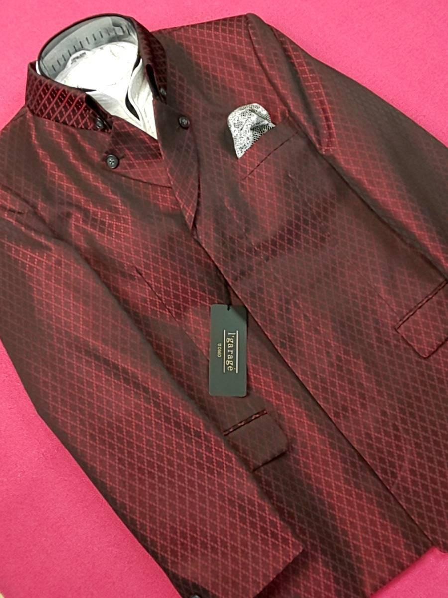 新品 SALE!! 特別価格!! 送料無料 l'garage マオカラースーツ ツータック Mサイズ ゆったり パーティー 結婚式 ステージ衣装 74504-2 _画像4