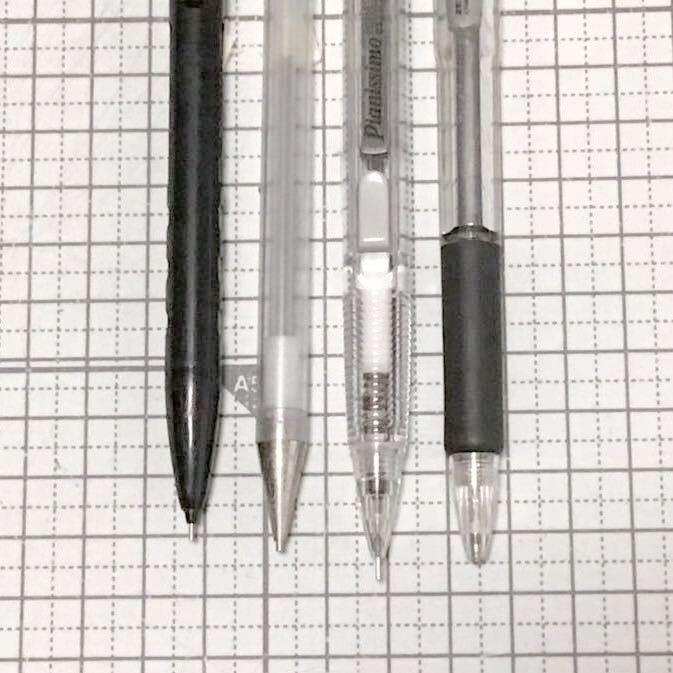 【レトロ シャープペンシル4本】SAILOR 黒 1本/スケルトン 3本